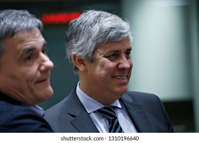 Brussels, Belgium. 11th Feb. 2019. President of Eurogroup Mario Centeno  arrives to attend in an Economic and Financial (ECOFIN) Affairs Council meeting.
