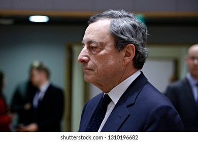 Brussels, Belgium. 11th Feb. 2019. President of the European Central Bank, Mario Draghi arrives to attend in an Economic and Financial (ECOFIN) Affairs Council meeting.