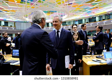 Brussels, Belgium. 11th Feb. 2019. French Economy, Finance Trade Minister Bruno Le Maire arrives to attends in an Economic and Financial affairs meeting council (ECOFIN) at the European Council.