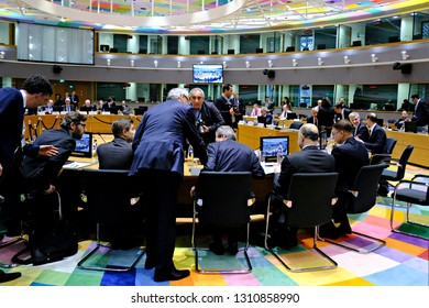 Brussels, Belgium. 11th Feb. 2019. Economic and Financial affairs meeting council at the European Council.