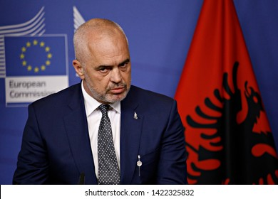 Brussels, Belgium. 11th June 2019.  Prime Minister of Albania, Edi Rama and President of the European Commission Jean-Claude Juncker give a press conference after their meeting.
