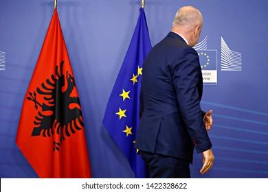 Brussels, Belgium. 11th June 2019.  Prime Minister of Albania, Edi Rama meets President of the European Commission Jean-Claude Juncker