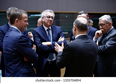 Brussels, Belgium. 11th March 2019. Finance Minister of Germany Olaf Scholz attends in an Eurogroup finance ministers meeting at the EU headquarters .