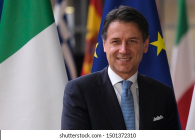 Brussels, Belgium. 11th Sep. 2019. Italian Prime Minister Giuseppe Conte  is welcomed by European Council President Donald Tusk ahead of their meeting at the European Council.