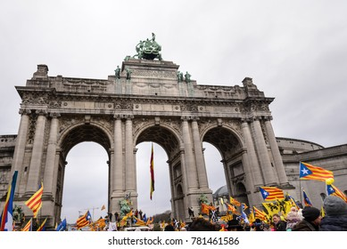 Brussels, Belgium; 12 07 2017: Pro-independence demonstration In Brussels attracts 45000 catalans protestors