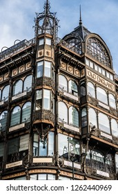 Brussels, Belgium - 12 18 2018: Facade of the Old England warehouse, the Music Instrument Museum MIM in Art Nouveau style