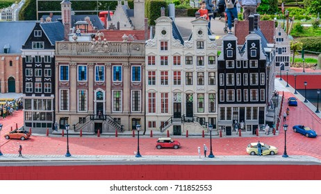 BRUSSELS, BELGIUM - 12 JUN 2017: Miniatures at the park Mini-Europe - reproductions of monuments in the European Union.