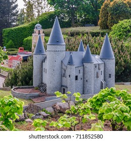 BRUSSELS, BELGIUM - 12 JUN 2017: Miniatures at the park Mini-Europe - reproductions of monuments in the European Union. Hoensbroek Castle, Holland
