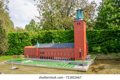 BRUSSELS, BELGIUM - 12 JUN 2017: Miniatures at the park Mini-Europe - reproductions of monuments in the European Union. A new Stockholm City Hall, Sweden