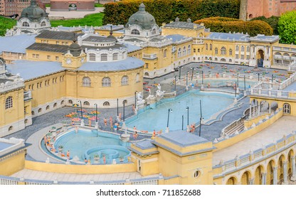 BRUSSELS, BELGIUM - 12 JUN 2017: Miniatures at the park Mini-Europe - reproductions of monuments in the European Union. The Szechenyi Furdo (Thermal Bath and pool), Budapest, Hungary