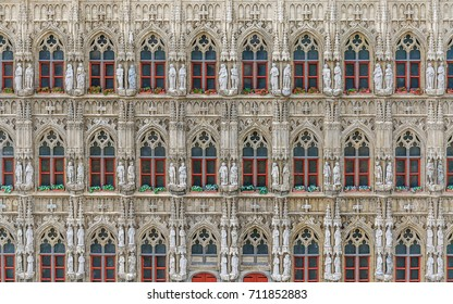 BRUSSELS, BELGIUM - 12 JUN 2017: Miniatures at the park Mini-Europe - reproductions of monuments in the European Union. The facade of  the Town Hall on the Grand Place, Brussels