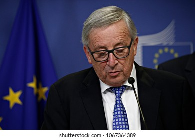 Brussels, Belgium. 12th April 2018. President of Commission Jean Claude Juncker gives a joint press conference with Slovakia's Prime Minister after their bilateral meeting.