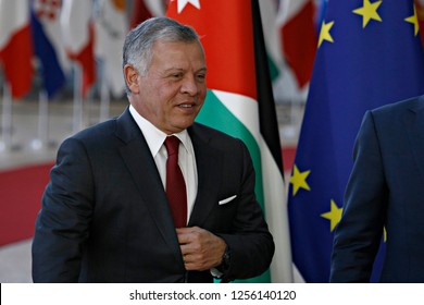 Brussels, Belgium. 12th Dec. 2018. Jordan King Abdullah II is welcomed by the President of the European Council Donald Tusk ahead of a meeting at the European Council.