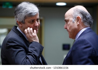 Brussels, Belgium. 12th Feb. 2019. Portuguese Finance Minister Mario Centeno and ECB Vice-President Luis de Guindos attend in an Economic and Financial affairs meeting council at the European Council