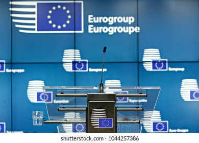 Brussels, Belgium. 12th March, 2018. Press conference after Eurogroup meeting at the European Council headquarters.