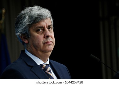 Brussels, Belgium. 12th March, 2018. Portugal's Finance Minister Mario Centeno and president of the Eurogroup holds a news conference at the European Council headquarters.