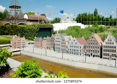 BRUSSELS, BELGIUM - 13 MAY 2016: Miniatures at the park Mini-Europe - reproductions of monuments in the European Union at a scale of 1:25. Gent, Belgium.