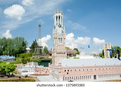 BRUSSELS, BELGIUM - 13 MAY 2016: Miniatures at the park Mini-Europe - reproductions of monuments in the European Union at a scale of 1:25. Bruges, Belgium.
