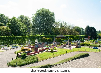 BRUSSELS, BELGIUM - 13 MAY 2016: Miniatures at the park Mini-Europe - reproductions of monuments in the European Union at a scale of 1:25. Holland, Netherlands.