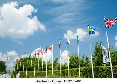 BRUSSELS, BELGIUM - 13 MAY 2016: Miniatures at the park Mini-Europe - reproductions of monuments in the European Union at a scale of 1:25. Flags of the European Union