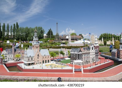 BRUSSELS, BELGIUM - 13 MAY 2016: Miniatures at the park Mini-Europe - reproductions of monuments in the European Union at a scale of 1:25.  Amsterdam, Holland, Netherlands.