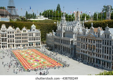 BRUSSELS, BELGIUM - 13 MAY 2016: Miniatures at the park Mini-Europe - reproductions of monuments in the European Union at a scale of 1:25. Grand Place, Brussels, Belgium.