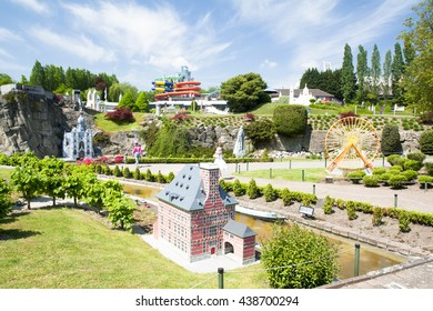 BRUSSELS, BELGIUM - 13 MAY 2016: Miniatures at the park Mini-Europe - reproductions of monuments in the European Union at a scale of 1:25. Liege, Belgium.