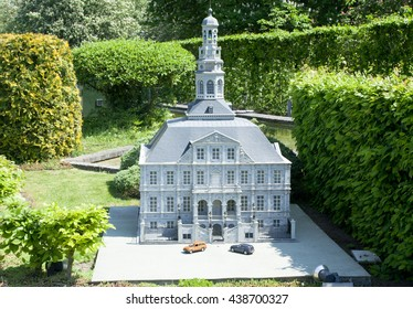 BRUSSELS, BELGIUM - 13 MAY 2016: Miniatures at the park Mini-Europe - reproductions of monuments in the European Union at a scale of 1:25. Maastricht, Holland, Netherlands.