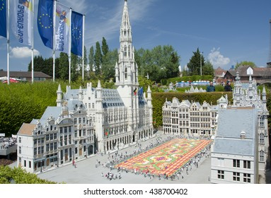 BRUSSELS, BELGIUM - 13 MAY 2016: Miniatures at the park Mini-Europe - reproductions of monuments in the European Union at a scale of 1:25. The Grand Place, Brussels, Belgium.