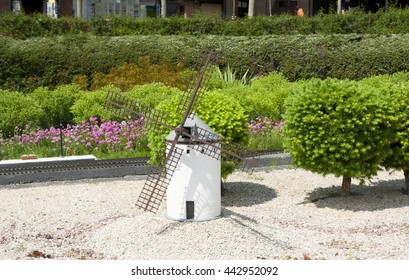 BRUSSELS, BELGIUM - 13 MAY 2016: Miniatures at the park Mini-Europe - reproductions of monuments in the European Union at a scale of 1:25. Spain.