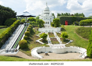 BRUSSELS, BELGIUM - 13 MAY 2016: Miniatures at the park Mini-Europe - reproductions of monuments in the European Union at a scale of 1:25. Montmartre, Paris, France.