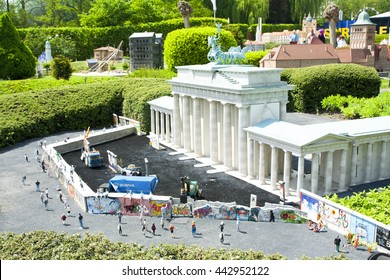 BRUSSELS, BELGIUM - 13 MAY 2016: Miniatures at the park Mini-Europe - reproductions of monuments in the European Union at a scale of 1:25. Berlin, Germany.