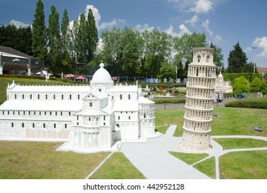 BRUSSELS, BELGIUM - 13 MAY 2016: Miniatures at the park Mini-Europe - reproductions of monuments in the European Union at a scale of 1:25. Pisa, Italy.