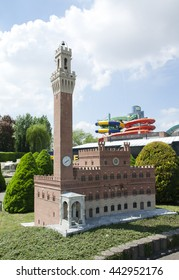 BRUSSELS, BELGIUM - 13 MAY 2016: Miniatures at the park Mini-Europe - reproductions of monuments in the European Union at a scale of 1:25. Sienna, Italy.