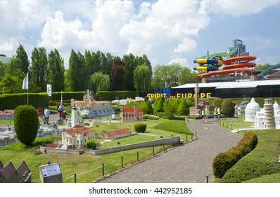 BRUSSELS, BELGIUM - 13 MAY 2016: Miniatures at the park Mini-Europe - reproductions of monuments in the European Union at a scale of 1:25.