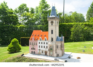BRUSSELS, BELGIUM - 13 MAY 2016: Miniatures at the park Mini-Europe - reproductions of monuments in the European Union at a scale of 1:25. Prague, Czech Republic.