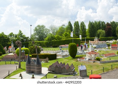 BRUSSELS, BELGIUM - 13 MAY 2016: Miniatures at the park Mini-Europe - reproductions of monuments in the European Union at a scale of 1:25. Lubeck, Germany.