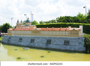 BRUSSELS, BELGIUM - 13 MAY 2016: Miniatures at the park Mini-Europe - reproductions of monuments in the European Union at a scale of 1:25. Melk, Austria.