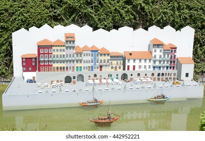 BRUSSELS, BELGIUM - 13 MAY 2016: Miniatures at the park Mini-Europe - reproductions of monuments in the European Union at a scale of 1:25. Porto, Portugal.
