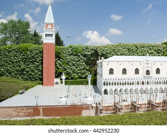 BRUSSELS, BELGIUM - 13 MAY 2016: Miniatures at the park Mini-Europe - reproductions of monuments in the European Union at a scale of 1:25. Venice, Italy.