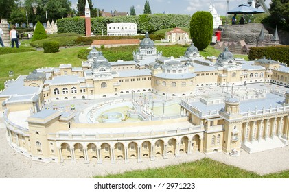 BRUSSELS, BELGIUM - 13 MAY 2016: Miniatures at the park Mini-Europe - reproductions of monuments in the European Union at a scale of 1:25. Budapest, Hungary.