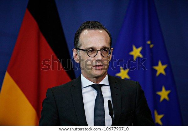 Brussels, Belgium. 13th April 2018.German Foreign Minister Heiko Maas and EU commission President Jean-Claude Juncker give a joint press conference at the end of a meeting at the European Commission.