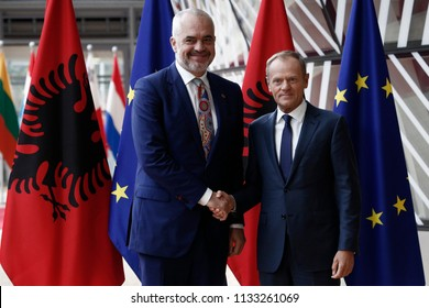 Brussels, Belgium. 13th July, 2018. Donald Tusk, the President of the European Council welcomes the Prime Minister of Albania Edi Rama at European Council headquarters