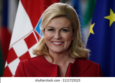 Brussels, Belgium. 13th June, 2018. Donald Tusk, the President of the European Council  welcomes President of Croatia Kolinda Grabar-Kitarovic at European Council headquarters.