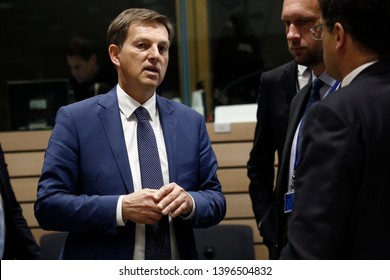 Brussels, Belgium. 13th May 2019. Ministers of Foreign Affairs of Slovenia Miro Cerar attends in a meeting of EU foreign ministers  at the Europa building.