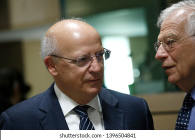 Brussels, Belgium. 13th May 2019. Portuguese Foreign Minister Augusto Santos Silva attends in a meeting of EU foreign ministers  at the Europa building.