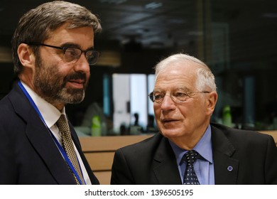 Brussels, Belgium. 13th May 2019. Ministers of Foreign Affairs of Spain  Josep Borrell  attends in a meeting of EU foreign ministers  at the Europa building.