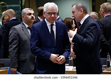 Brussels, Belgium. 13th May 2019.Minister of Foreign Affairs of Poland Jacek Czaputowicz  attends in  a meeting of EU foreign ministers and Eastern Partnership nations at the Europa building.