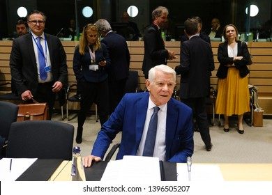 Brussels, Belgium. 13th May 2019.Romanian Foreign Minister Teodor Melescanu attends in a meeting of EU foreign ministers  at the Europa building.