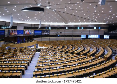 Brussels, Belgium. 13th May 2020. General view of hemicycle during a one day plenary session of European Parliament .